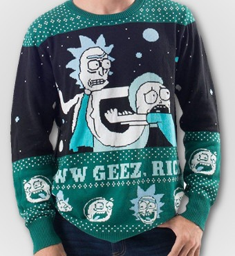 Rick and Morty Alien Aww Geez Christmas Sweater