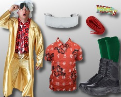 Plus Size Back to The Future II Doc Brown Fancy Dress Costume 2X