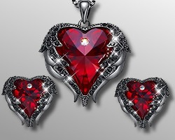 Heart Pendant & Earrings